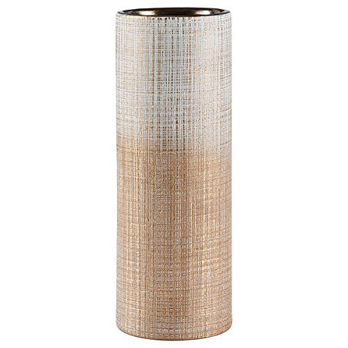 "Rivet Rustic Stoneware Indoor Outdoor Flower Plant Home Decor Tall Cylinder Vase, 11""H, Bronze"