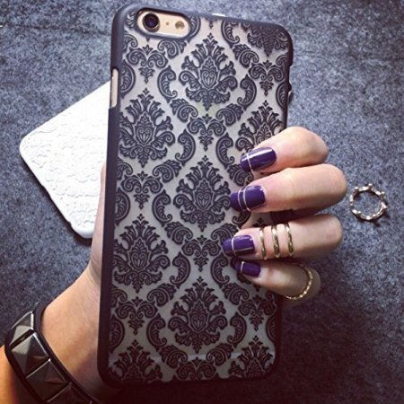Aprtwin iPhone 6S Custodia, iPhone 6 Custodia, Fashion Style Custodia, Baroque Retro Court Lace Pattern Texture Hard Plastic Back Custodia Cover Fit per iPhone 6/6S (4.7Inch)[Nero]