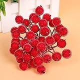 200pcs Mini Weihnachten Dekoration Künstliche Frucht Beere Holly Blumen - Rot - 2