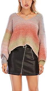 BININBOX Suéter de otoño/Invierno, Ropa Exterior Holgada, Chaqueta Interior de Punto Perezoso con Rayas arcoíris para Mujer