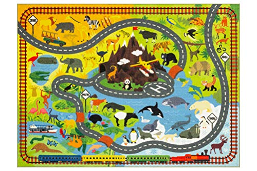 "KC CUBS Playtime Collection Animal Safari Road Map Educational Learning & Game Area Rug Carpet for Kids and Children Bedrooms and Playroom (3' 3"" x 4' 7"")"