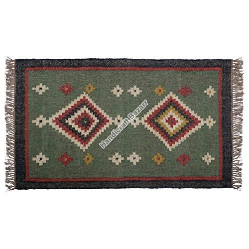 Handicraft Bazarr Alfombra étnica de yute, estilo vintage, alfombra de cocina, alfombra de meditación para interiores y exteriores, decoración de suelo rústico, juego de alfombras Kilim de 3 x 5 pies