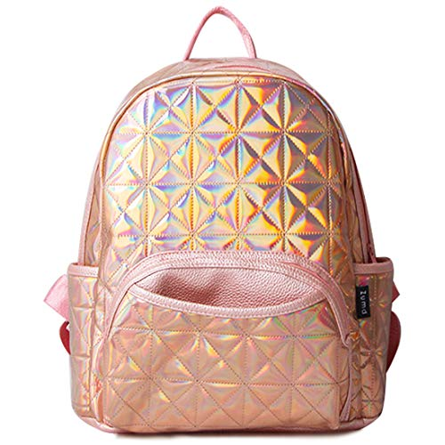Woman Holographic Laser Laptop Backpack Travel Casual Daypack College School Bags(Golden Pink)