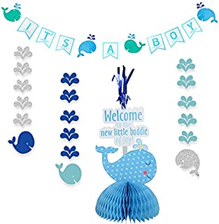 Whale Party Favors Supplies of Blue It's A Boy Banner Whale Hanging Whale Table Centerpiece for Sea Themed Decorations by Shxstore