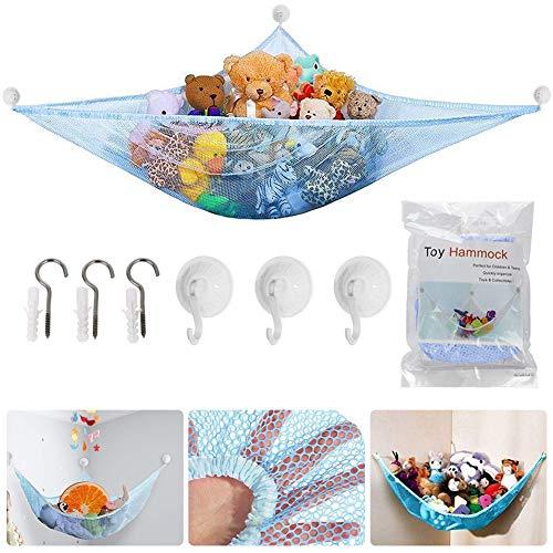 Spielzeug Hängematte, BESTZY Kinder Spielzeug Hängematte, Speichernetz für Kuscheltiere, Netz Stofftier Lagerung Net für Kuscheltiere Spielzeug 180 * 120 * 120 cm (Blau)