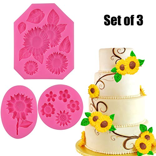 Palksky (Set of 3) Sunflower Fondant Mold/Sun Flower cake topper decoration Silicone mold for Chocolate Candy Sugar Craft Gum Paste Polymer Clay Crafting Projects Resin Mould
