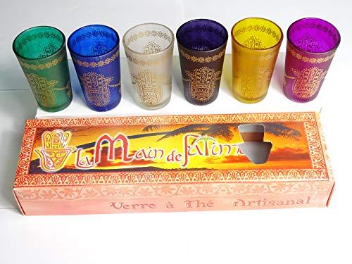 Juego de 6 Vasos marroquíes para el Té - artesanales