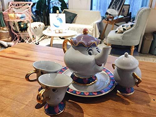 Sugar Bowl La Bella y la Bestia Tetera Archie Juego de Taza, Plato y platillo de cerámica,A Sugar Bowl and a Plate