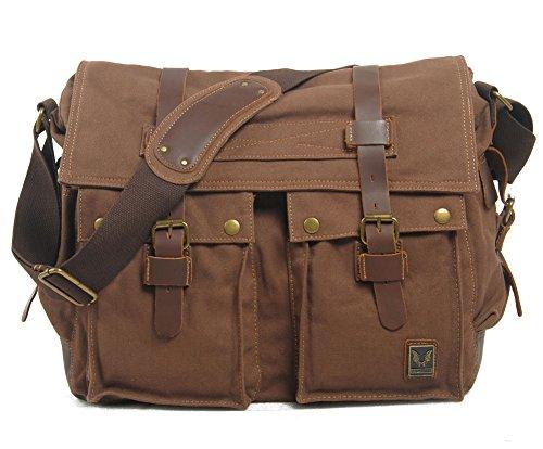 Men Casual Leather Canvas Shoulder Bookbag Hiking Satchel Messenger Handbag Bag (X-Large, Coffee)