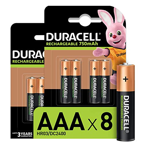 Duracell - Pilas Recargables AAA 750 mAh, paquete de 8, Amazon exclusive