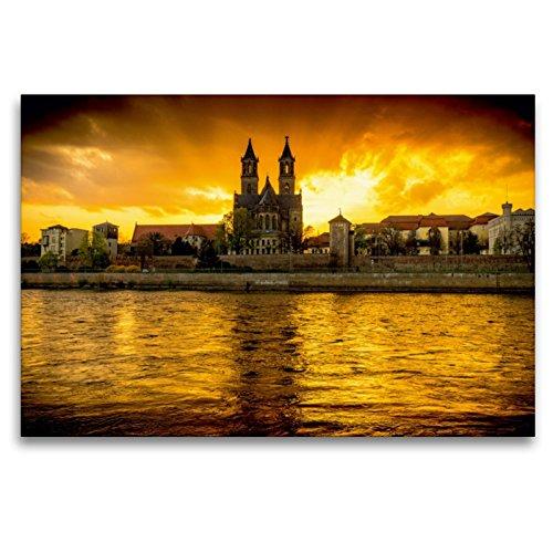 Calvendo Premium Textil-Leinwand 120 cm x 80 cm quer, Sundown an der Elbe | Wandbild, Bild auf...