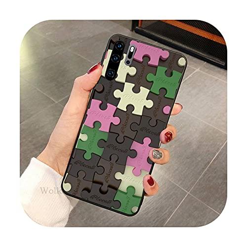 Moda colorido Puzzle teléfono caso para Huawei P9 P10 P20 P30 P40 MART Pro Lite TPU Cover-a9-Huawei P40 lite