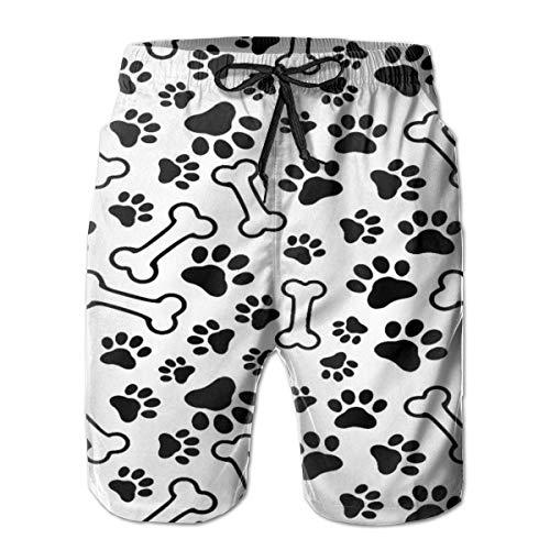 Love girl Short de Plage pour Hommes à séchage Rapide Dog Paws Bone Mesh Lining Surfing Swim Board Trunks with Pockets, Size M