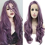 24' Long Purple Lace Front Wigs Wavy Heat Resistant Glueless Synthetic Hair Replacement Wig For Women Half Hand Tied