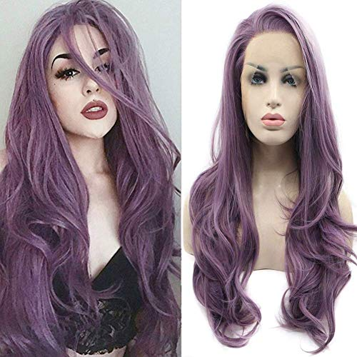 """24"""" Long Purple Lace Front Wigs Wavy Heat Resistant Glueless Synthetic Hair Replacement Wig For Women Half Hand Tied"""