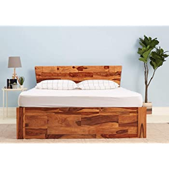 Bm Wood Furniture Single Size Sheesham Wood Bed 6 4 Feet With Storage Honey Teak Finish Brown Amazon In Electronics
