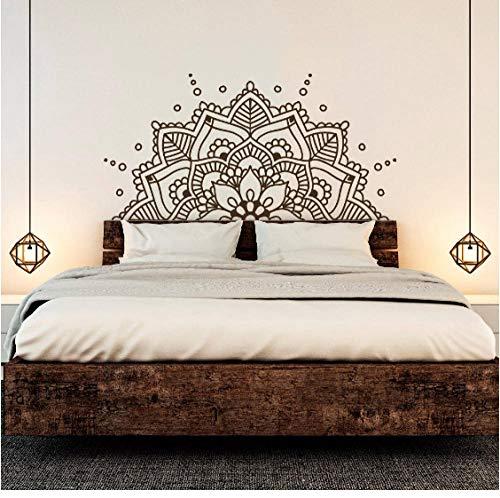 wbqhai Cabecera del Dormitorio Boho Decoración Bohemia Medio Mandala Tatuajes de Pared Estudio de Yoga Ornamento Mandala Vinilo...