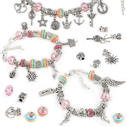 VGOODALL Charm Armband DIY Kit, Schmuck Bastelset Geschenk für Mädchen 3 Silber Kette mit 60 Elemente Perlen Anhänger für 6 Jahre und älter Teens