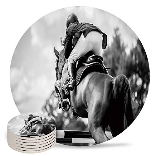 Coasters for Drinks Absorbent Coaster Set of 6 with Cork Base- Spring Equestrian Competition Minimalist Black and WhiteCeramic Cup Coaster for Wooden Table Bar Housewarming Gifts Holiday Party