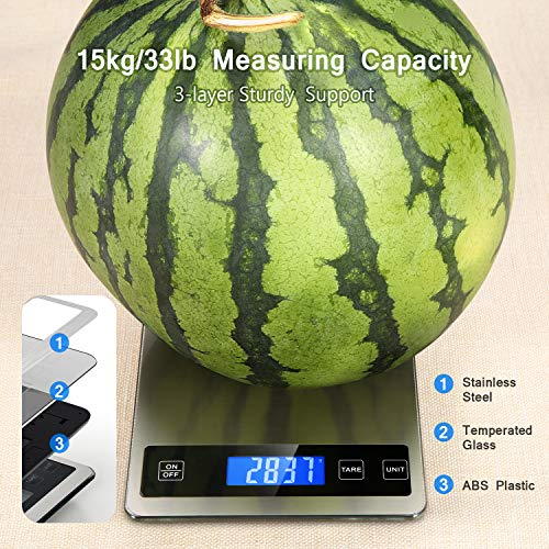 Product Image 2: Kitchen Scale, Homever 15kg Food Scale with 9 X 6.3in Big Panel, Stainless Steel Digital Kitchen Scale with 1g Accuracy and Back-lit LCD Display.