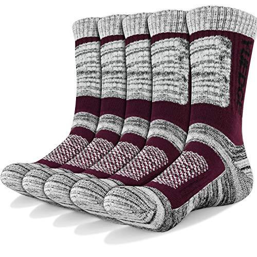 YUEDGE Wandersocken, 3/5 Paar atmungsaktive Laufsocken für Herren, Sport Socken mit Sohle & Knöchel, Anti-Blister Trainersocken Wine Red L