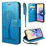AROYI Kompatibel mit Redmi Note 10 5G Hülle mit Panzerglas,[Not Fit for 4G] PU Leder Flip Wallet Schutzhülle für Redmi Note 10 5G Tasche (Blau)
