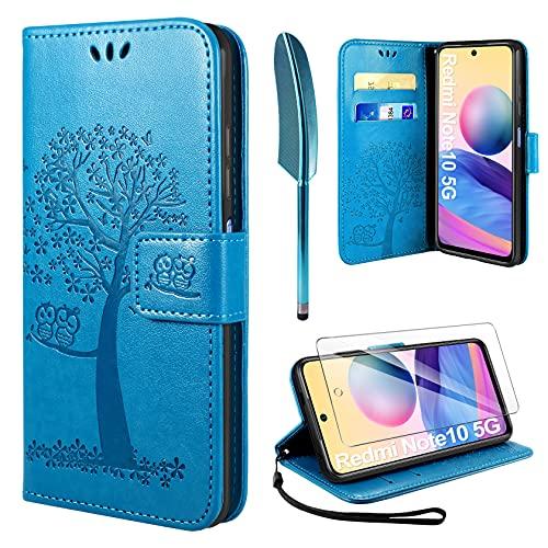 AROYI Funda Compatible con Xiaomi Redmi Note 10 5G y Protector de Pantalla, [Not Fit for 4G] Soporte Plegable Tapa Flip de PU Ranuras Tarjetas Magnético Protección para Xiaomi Redmi Note 10 5G-Azul