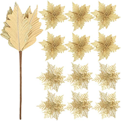 WILLBOND 12 Pieces Artificial Glitter Poinsettia Christmas Flower Ornaments Tree Decorations Artificial Christmas Flowers for Christmas New Year Wedding Party Floral Decorations (Gold)
