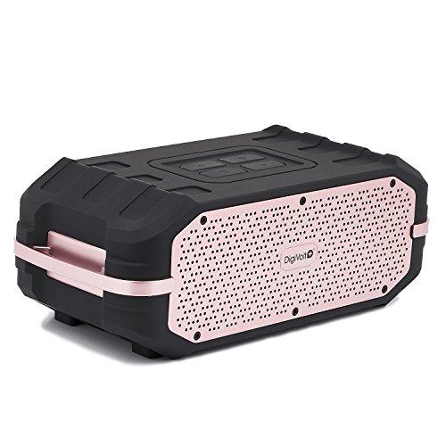 Reproductor DigiVolt HIFI-34 by MovilCom | Altavoz Bluetooth estéro con Radio FM MP3 USB Resistente a Salpicaduras Negro-Rosa