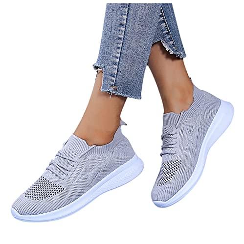 koperras Mesh Sneaker Damen Sportschuhe Outdoorschuhe Lässige Straßenlaufschuhe Freizeitschuhe Atmungsaktive Trekkingschuhe Wasserdicht Frauen Sneakers Slip-On Schuhe Schwarz Grau Pink
