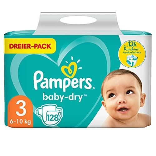 Pampers Windeln Größe 3 (6-10kg) Baby Dry, 128 Stück, Bis Zu 12Stunden Rundum-Auslaufschutz