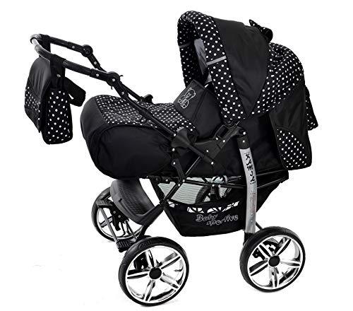 Kamil - Sistema de viaje 3 en 1, silla de paseo, carrito con capazo y silla de coche, RUEDAS ESTÁTICAS y accesorios (Sistema de viaje 3 en 1, negro, lunares)