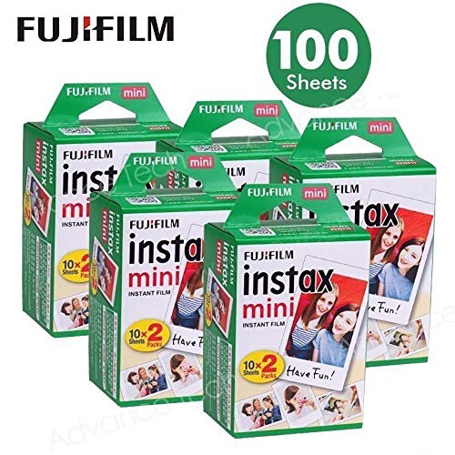 Fujifilm Instax Mini 100 Film for Fuji 7S 8 25 50S 90 300 Instant Camera, Share SP-1 White, Pack of 5