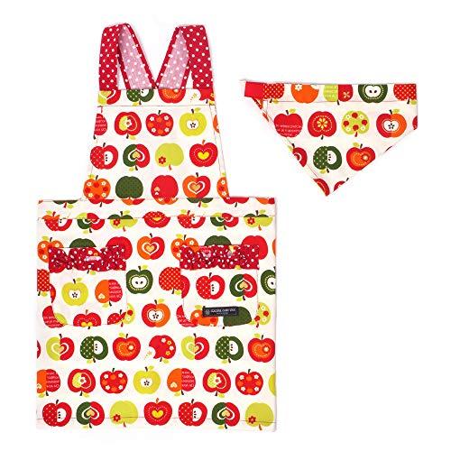 バッククロスエプロン100-120 三角巾付き 子供用 おしゃれリンゴのひみつ(アイボリー) N7904110