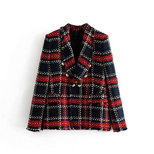 ZKYOP Mantel Weinlese-Frauen-Roter Plaid-Tweed-Blazer-Mantel-Eleganter Zweireihiger Troddel-Klage-Jacken-BlazerFrühling und Herbst