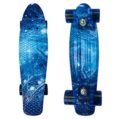Cruiser Skateboard, 22 Zoll Penny Board Cruiser Carver Baby Komplette Mini Cruiser Skateboard Retro-Design Sternengrafische Galaxie, Anfänger Skating Board Klassisches Skateboard für Mädchen Kinder