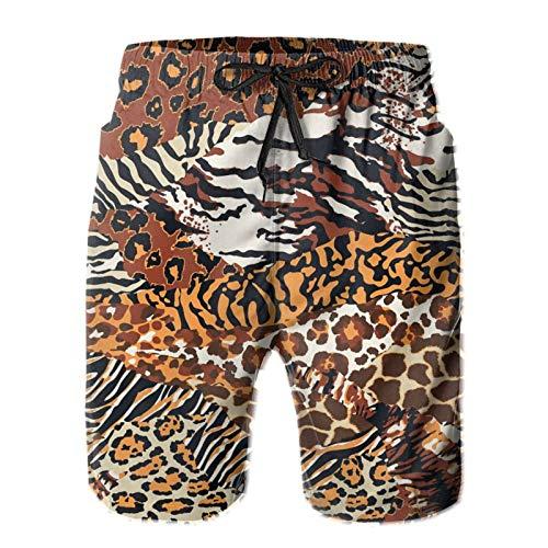 SARA NELL Men's Swim Trunks Wild Animal Skins Cheetah Leopard Tiger Zebra Surfing Beach Board Shorts Swimwear White