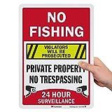 "SmartSign ""No Fishing - Private Property, No Trespassing, 24 Hour Surveillance, Violators Will Be Prosecuted"" Sign | 10' x 14' 3M Engineer Grade Reflective Aluminum"