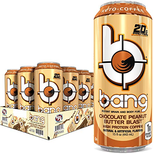 BANG Keto Coffee Energy Drink, Chocolate Peanut Butter, 12 Count