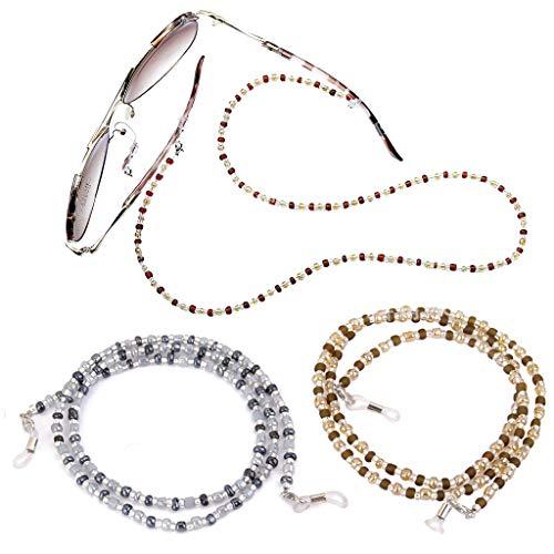 Gresunny 3 piezas cadenas de gafas de mujer cadenas de anteojos cordón de collar de gafas de cuentas vistoso anti-perdidas decorativas correa de retención de cordón para gafas de sol para mujeres