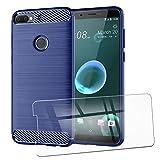 QFSM Funda + Cristal Templado para HTC Desire 12 Plus Silicona Carcasa TPU Anti-Knock Fibra de Carbono Cover Case Azul Oscuro, HD Película Protectora Cristal Templado Pantalla Glass