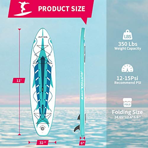 """Product Image 2: MURTISOL 11'32"""" 6"""" Inflatable Stand Up Paddle Board with Premium SUP Accessories, Bottom Fin for Paddling, Leash and Hand Pump Non-Slip Deck Standing Board with 2 Waterproof Bags,Green"""
