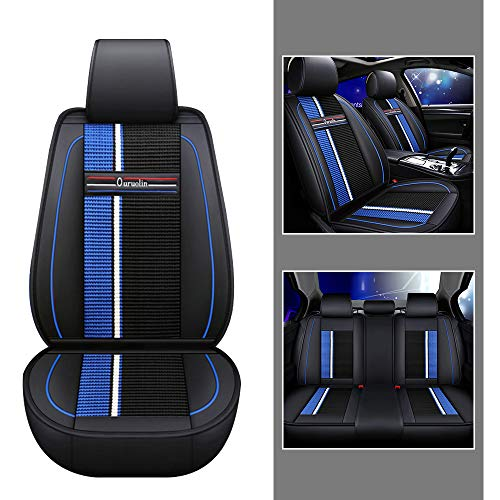 For Driver/Co-pilot/Rear 3seat Car Seat Covers For Buick Envision Excelle Regal Larcosse Encore 5-Seat Leather Cover Full Protection Set Black blue