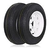 Ark Motoring Trailer Tires 5.30-12 530-12 5.30x12 with Rims, 5 Lug, Load Range C, 6PR, Set of 2
