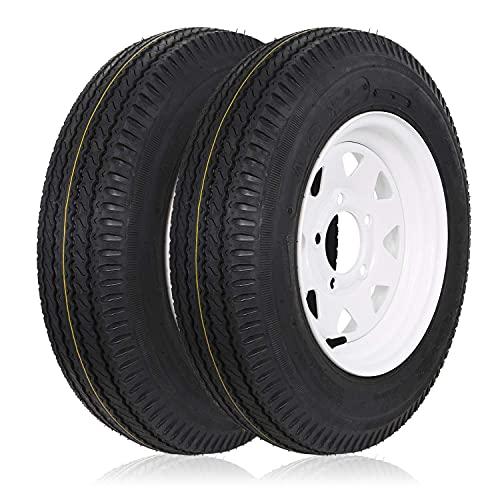 Ark Motoring Trailer Tires 5.30-12 530-12 5.30x12 with Rims, 5 Lug, Load Range C, 6 Ply, Set of 2