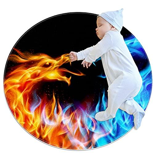 Indimization Dragón de Fuego Azul Rojo Alfombra Redonda Alfombra Redonda decoración Arte Antideslizante niños Lavables a máquin Suave Sala Estar Dormitorio de Juegos para 80x80cm