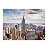 WADPJ Ciudad de Nueva York Manhattan Building Canvas Painting Sunset Cloud Posters Impresiones Escandinavo Wall Art Picture Living Room Decor-60x80cmx1 pcs sin Marco