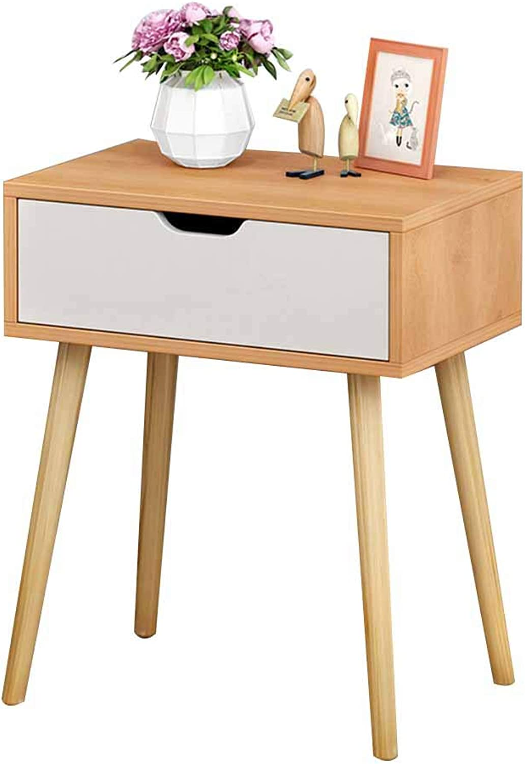 Coffee Table Bedside Table, Invisible Handle, Single Drawer Multipurpose Storage Solid Wood Legs Used for Study Bedroom 2 Colours (color   Wood color)