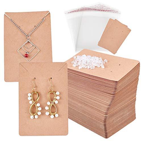 PandaHall 150 tarjetas para pendientes de 8,9 x 5,9 cm, con 300 tuercas de plástico para orejas, 200 bolsas de celofán de 10,9 x 10,9 cm, para pendientes de joyería, Kraft, BurlyWood