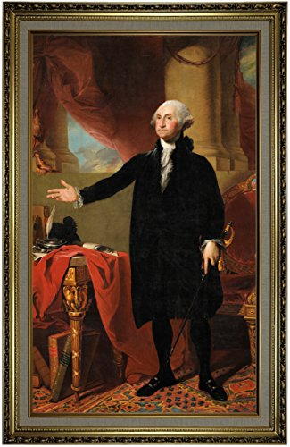 Historic Art Gallery George Washington Standing - The Lansdowne Portrait 1797 by Gilbert Stuart Framed Canvas Print, Size 19x32, Gold